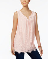 Style&Co. Style & Co Lace Scalloped-Hem Top, Only at Macy's