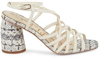 Sam Edelman Daffodil Leather Snakeskin-Embossed Sandals