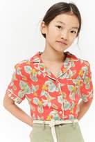 Forever 21 Girls Floral Print Shirt (Kids)