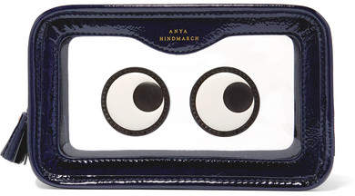 Anya Hindmarch Rainy Day Appliquéd Perspex And Patent-leather Cosmetics Case - Navy