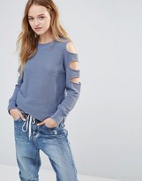 Daisy Street Sweater With Cold Shoulder Ladder Detail