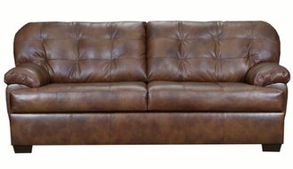 Emmalyn Leather Sofa Millwood Pines Upholstery Color: Gray
