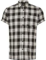 River Island MensBlack check short sleeve shirt
