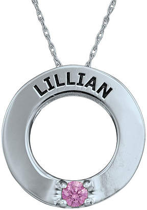 Fine Jewelry Personalized Simulated Birthstone Engraved Open Circle Pendant Necklace