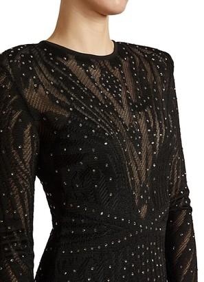 ZUHAIR MURAD Studded Sheer Gown