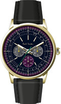 Paul Smith P10006 precision gold-plated stainless steel and leather watch