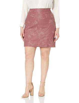 City Chic Women's Apparel Women's Plus Size A-line PU emb Detailed Skirt