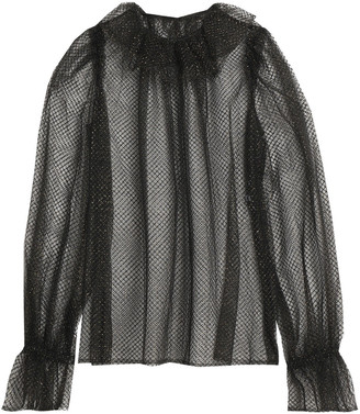 Dolce & Gabbana Lame-trimmed Ruffled Tulle And Net Blouse