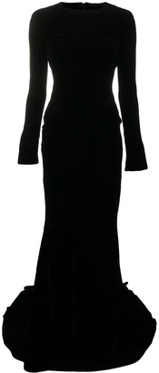 Haider Ackermann Velvet-Effect Long-Sleeved Gown