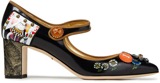 Dolce & Gabbana Embellished Printed Patent-leather Mary Jane Pumps