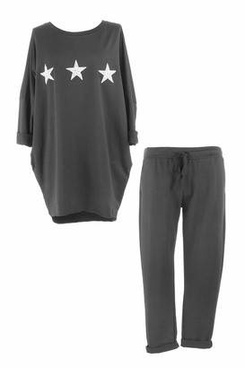 Texture Ladies Womens Italian Lagenlook 2 Piece Batwing Long Sleeve 3 Embellished Star 2 Pocket Jersey Cotton Tulip Tunic Top Joggers Trouser Lounge Set One Size (Black One Size)