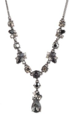 """Givenchy Hematite-Tone Jet Stone Cluster Y Necklace, 16"""" + 3"""" extender"""