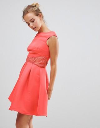 Little Mistress Little Mistess Fit & Flare Dress With Lace Waist-Pink