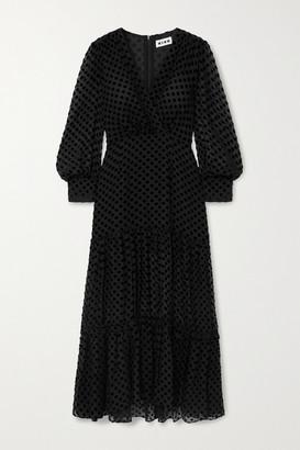 Rixo Elsie Polka-dot Flocked Silk-chiffon Midi Dress