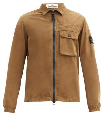 Stone Island Logo-patch Cotton-canvas Overshirt - Brown