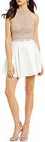 Jodi Kristopher Mock Neck Illusion-Yoke Lace Top Two-Piece Dress