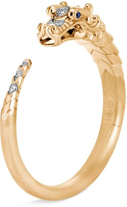 John Hardy Diamond sapphire 18k yellow gold naga cuff