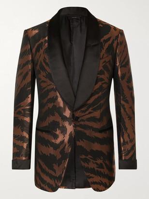 Tom Ford Copper Slim-Fit Satin-Trimmed Zebra-Jacquard Tuxedo Jacket
