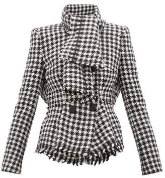 Dolce & Gabbana Tie Neck Double Breasted Houndstooth Jacket - Womens - Black White
