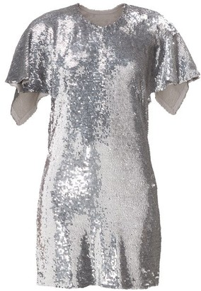 Ashish Open-back Sequinned Mini Dress - Womens - Silver
