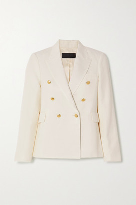 Nili Lotan Henry Double-breasted Linen And Silk-blend Blazer - Ivory