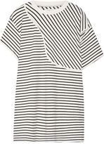 MM6 MAISON MARGIELA Cutout Striped Stretch-cotton Jersey Mini Dress - Off-white