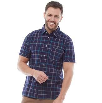 Urban Beach Mens Huang Short Sleeve Check Shirt Navy Blue