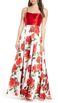Sequin Hearts Floral Mikado Gown