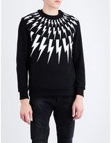 Neil Barrett Grey Printed Lightning Bolt-print Cotton-jersey Sweatshirt