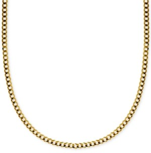 "Italian Gold 22"" Curb Link Chain Necklace in Solid 14k Gold"