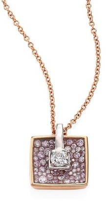 Plevé Opus Diamond & 18K Yellow Gold Cushion Pendant Necklace