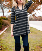 Aster Black & Gray Stripe Notch Neck Tunic - Plus Too