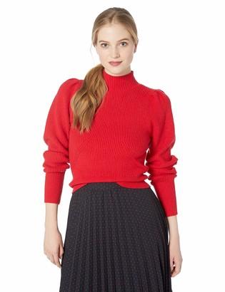 ASTR the Label Women's Mock Neck Puff Sleeve Longsleeve Knit Sweater