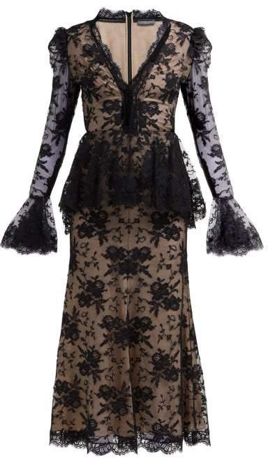 Alexander McQueen Sarabande Lace V Neck Peplum Dress - Womens - Black