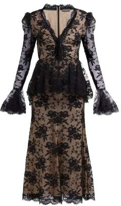 Alexander McQueen Sarabande-lace V-neck Peplum Dress - Womens - Black