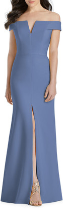 Dessy Collection Off-the-Shoulder Creep Column Gown w/ Front Slit