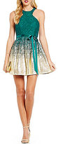 B. Darlin Racer Neckline Lace Foil Dipped Skater Dress