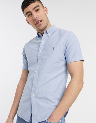 Polo Ralph Lauren short sleeve oxford shirt slim fit multi player logo in blue exclusive to ASOS