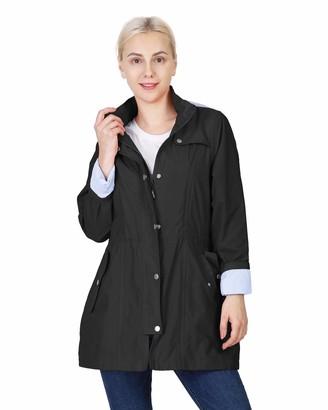 Outdoor Ventures Women's Raincaot Waterproof Lightweight Packable Rain Jacket Windbreaker Trench Coat with Hood Black
