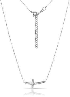 Curata Italian Sterling Silver 16 +1 inch Curved Sideways Cubic Zirconia Cross Necklace