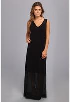 DKNY DKNYC Sleeveless V-Neck Maxi Dress w/ Chiffon Yoke and Hem