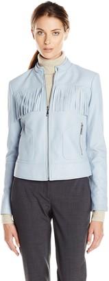 Dawn Levy Women's Fringe Long Sleeve Leather Moto Jacket