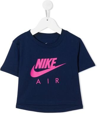Nike Kids logo-print cropped T-shirt