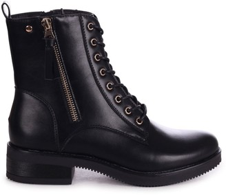 Linzi IVY - Black Nappa Lace Up Military Style Boot With Gold Zip Detail