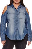 Boutique + + Modern Fit Long Sleeve Button-Front Shirt-Plus