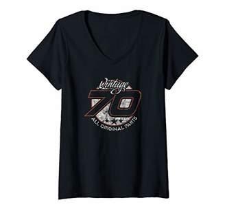 Womens Funny 50th Car Racing Fan Race Car Number 70 Birthday V-Neck T-Shirt