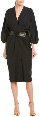 Narciso Rodriguez Narcisco Rodriguez Ruched Leather-Trim Midi Dress