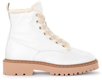 Hogan Combat Boot In Soft White Leather
