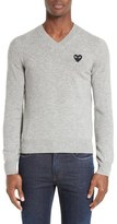 Comme des Garcons Wool V-Neck Sweater with Heart Appliqué