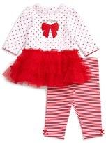 Little Me Infant Girl's Rosy Red Dress & Leggings Set